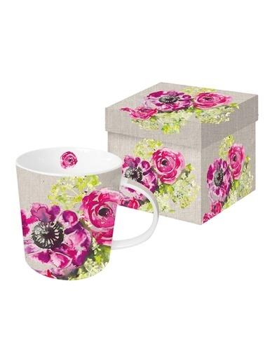 Dünya Style Pink Blassoms Porselen Kupa Renkli